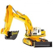 YEDAYS RC Excavator Large 10 CH Excavator Remote Control Dig/Shove/Rotate Function with Music and Light Recharger Power