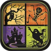Unique Haunted House 9in Dinner Party Plates - 8 ct