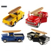 """Set Of 4: 5"""" 1955 Chevy Stepside Pickup With Surfboard 1:32 Scale (Black/Blue/Red/Yellow)"""