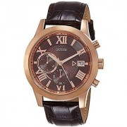 GUESS Brown Leather Round Dial Quartz Watch For Men (W0669G1)