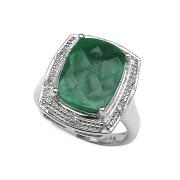 Inel argint 925 cu smarald si diamante albe