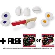 Slice & Sort Wooden Eggs: Play Food Set + FREE Melissa & Doug Scratch Art Mini-Pad Bundle [93019]