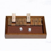 WE Games Shut the Box Game - 9 Numbers with Dark Stained Wood
