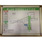 Plan d'évacuation avec consignes de sécurité encadré et plastifié