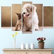 Декоративeн панел за стена с домашна идилия - кученце и котенце Vivid Home