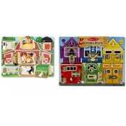 Melissa & Doug Deluxe Latches Board and Magnetic Farm Hide and Seek Set