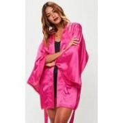Missguided Pink Picot Trim Robe, Pink