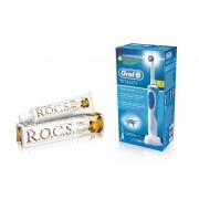 Periuta electrica ORAL-B Vitality Precision Clean + Pasta de dinti adulti R.O.C.S. Coffee & Tobacco