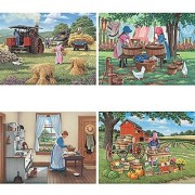 Bits and Pieces - Set of Four (4) 500 Piece Jigsaw Puzzles for Adults - Women on the Farm - 500 pc Country Lifestyle Jigsaws by Artist John Sloane