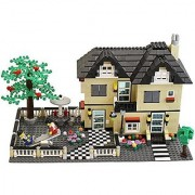 816 Piece Toy Family Cottage Themed Interconnecting Building Block Set with Yard Garden Figurines and Other Fun Assorted Pieces by Dimple
