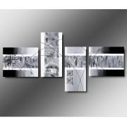 4 Quadri Moderni Toni del Grigio e Bianco