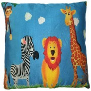 Ultra Premium Printed Cushion Jungle Animals 13x13 Inches - Multi- Colour