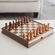 Deluxe Chess & Checker Game Gift Set with Bonus Storage Playing Board, Walnut by CHH