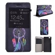 Para Capinha Huawei Com Suporte / com Visor / Flip Capinha Corpo Inteiro Capinha Filtro dos Sonhos Rígida Couro PU Huawei