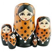 Set of 5 Brown Black White Dotted Big Eyes Babushka Traditional Russian Girl Nesting Dolls Matryoshka Popular Kids Girl Christmas Gifts Toy