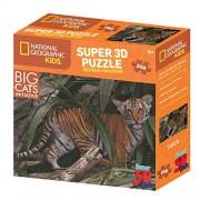 National Geographic ng10801 Enfant Super Big Chats Tigre 3D (Puzzle Maxi 150 pièces)