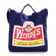 Sunwel Fashionable Canvas Storage Carry Case Lunch Bag Large Print Wendy's with 2 Carrying Way Top Handle & Shoulder Strap Magnetic Snap Closure