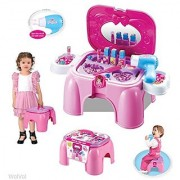 WolVol Electric Take Along Vanity Playset with Mirror and Working Hair Dryer Folds into Step Stool (Pink)