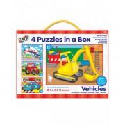 Set 4 puzzle-uri vehicule (4, 6, 8, 12 piese)