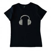 Tricou negru imprimeu casti audio pentru copii