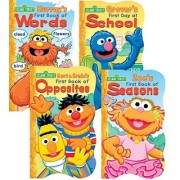 1 2 3 Sesame Street Shaped Board Book Set ~ First Book of Words Opposites Seasons and First Day of School (Set of 4)
