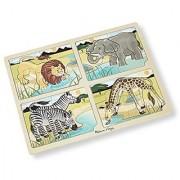 Melissa & Doug Safari Animals 4-in-1 Wooden Jigsaw Puzzle with Storage Tray (16 pcs)