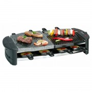 BOMANN CB 1279 - Raclette grill con piedra natural y placa, 8 personas, 1300 W
