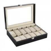 12 Cell PU Leather Wrist Watch Jewelry Organizer Display Storage Box - Black