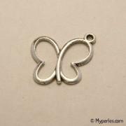 Perle breloque en métal forme papillon 20x18mm couleur argent (x 1)