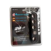 Adaptor bricheta auto 12V cu 4 iesiri si 2 USB 5V 1000mA