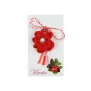 Martisor Brosa, Crosetat Manual, Buticocochet, Floare Rosie cu Perla Alba
