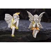 Bundle of 2 Miniature Shelf Sitting Fairy Garden Fairies - Pix (Boy) and Marigold (Girl)