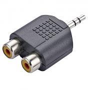 Adaptador Plug 2 RCA Femea Para 1 P2 Macho Estereo