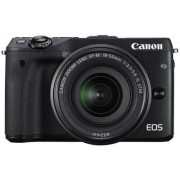 Aparat Foto Mirrorless Canon EOS M3 Kit EF-M 18-55, 24 MP, Filmare Full HD (Negru)
