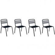 Lote de 4 sillas de exterior diseño aluminio negro ITHAQUE - Miliboo