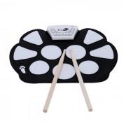 Kit Portatiles w / palillo de rollo electronico hasta Drum Pad - Negro