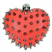 Torebka z ćwiekami i czaszką - ANARCHY HEART BAG, red