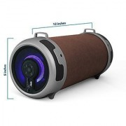 Tyler Portable Wireless Bluetooth Stereo Cylinder Speaker TWS401-BR with LED Light FM Radio AUX and MicroSD/TF Card Imput   Brown  