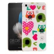 Huawei P8 Lite Love Owls Pattern IMD Workmanship Soft TPU Protective Case