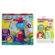 Play-Doh Sweet Shoppe Double Treat Ice Cream Set and Play-Doh Mix n Match Figure Featuring Disney Princess Ariel (bundle)