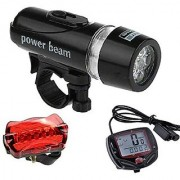 Futaba Bicycle Speedometer 5 Led Mountain Cycling Head Light And Bicycle Rear Light Lamp Combo