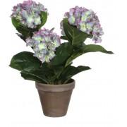 Mica Decorations - Hortensia - Paars In Bloempot Stan Grijs