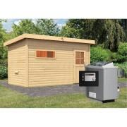 KARIBU Saunahaus Skrollan 3 inkl. 9 kW Saunaofen ext. Steuerung