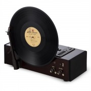Auna vertical, gramofon vertical, 33/45/78 rot / min., USB, SD, MP3, lemn de cireș