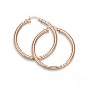 """14K Rose Gold Hoop Earrings, 1 1/8"""" Diameter, 2.75mm Thickness"""