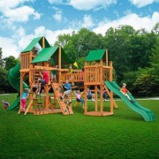 Gorilla Playsets Treasure Trove with Amber Posts and Canopy Cedar Swing Set 01-1021-AP Roof: Marine Vinyl Canopy - Green