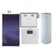 Pachet panouri solare Bosch 5 FKT-1S + WST SP750-1 + B-SOL 300 - acoperis plan