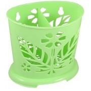 Maple Leaf Accent Plastic Chopsticks Case Holder Green