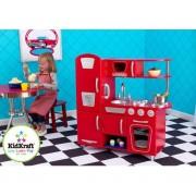 Cuisine pour enfant vintage rouge en bois 83x29x90cm