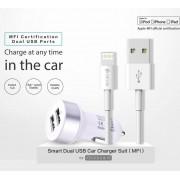Devia Dual USB Smart Charger MFI Lightning Suit - зарядно за кола с 2xUSB изхода и Lightning кабел за iPhone, iPad и iPod (бял)